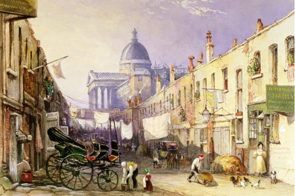 'The Godless place in Gower Street' - view of London University from Old Gower Mews, 1835, by George Sidney Shepherd