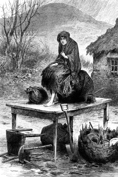 An Irish peasant girl with her family's last few possessions after eviction for non-payment of rent (The Illustrated London News)