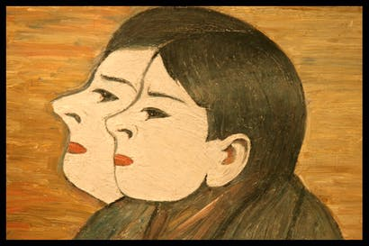 'Two Heads,', 1965, by L.S. Lowry, on show at Crane Kalman Gallery, Andrew Lambirth.