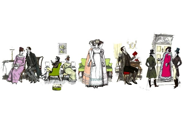 Scenes from Pride and Prejudice. Left to right: Charlotte and Mr Collins, Mr and Mrs Bennet at home, Lydia claims to be taller than her sisters, Mr Collins is horrified by the idea of reading a novel, Lady Catherine de Burgh with her nephews. Illustrations by Hugh Thomson from Happily Ever After