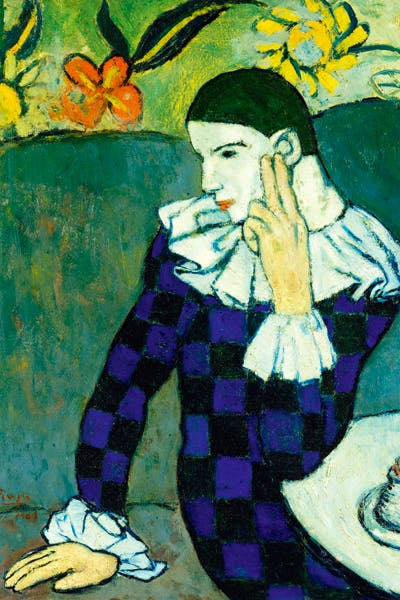 'Seated Harlequin', 1901, by Picasso