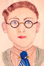 'An earnest swot with bat ears': Roy Strong's early self-portrait, aged 13, is reminiscent of David Hockney's at a similar age