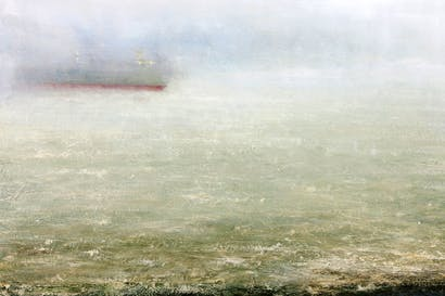 Ominously unstable elements of ocean and atmosphere: 'Turning Vessel' by Peter Archer