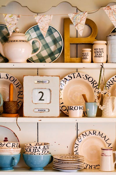 A display of pottery by Emma Bridgewater: 'The dignified name might have graced the bows of a transatlantic liner'