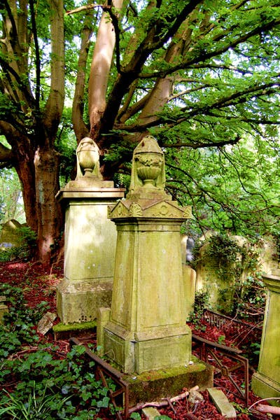 The symbolism of the cemetery: the draped urn, popular among the Victorians, is usually taken to mean that the soul has departed the shrouded body for its journey to heaven