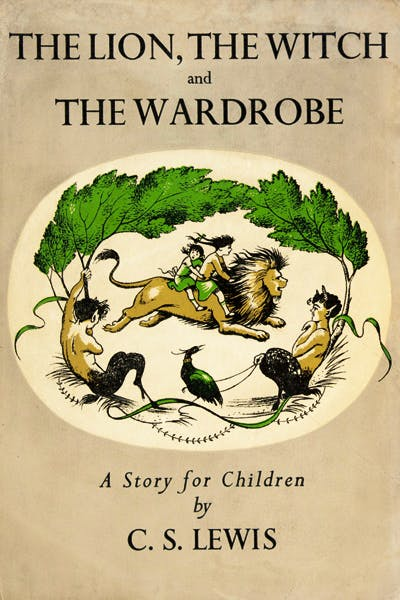 Cover illustration for the first edition of The Lion, the Witch and the Wardrobe