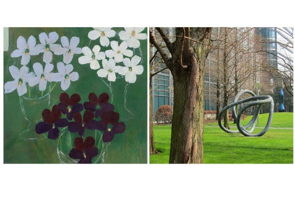 'Six Violas', 1985, by Mary Newcomb (left); 'Circuit', 2011, by Eilís O'Connell (right)