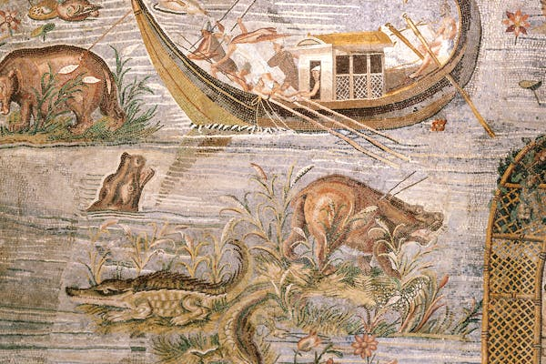 The Nile has teemed with crocodiles and hippopotami from the first century BC onwards, as this Roman mosaic shows