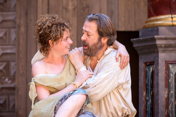 Miranda (Jessie Buckley) and Prospero (Roger Allam) in 'The Tempest'