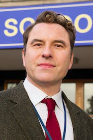 Vulnerable: David Walliams as Mr Church, the chemistry teacher, in 'Big School'