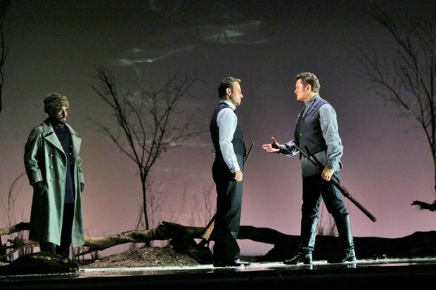 Fight to the death: Onegin (Mariusz Kwiecien) and Lenski (Piotr Beczala)