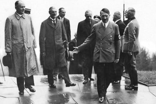 Adolf Hitler with Neville Chamberlain, during Chamberlain's visit to Munich (Photo: Hulton Archive/Getty Images)