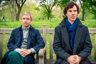Together again: Holmes (Martin Freeman) and Sherlock (Benedict Cumberbatch)
