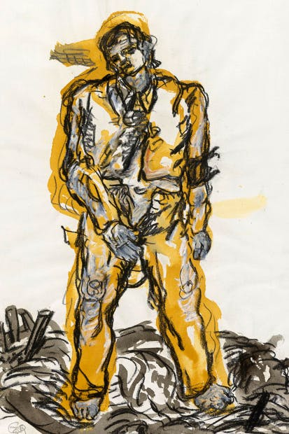 'Man on a Tree Downwards', 1968/69, by Georg Baselitz