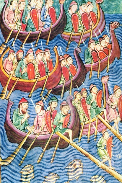 The Vikings arrive in England during the second wave of migration (Scandinavian school, 10th century)