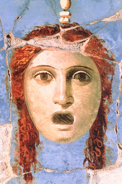 Wall painting of a female head, Pompeii, 1st century AD