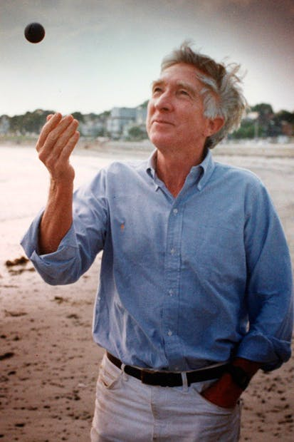 No worries: John Updike in his late fifties, on the beach at Swampscott, Mass