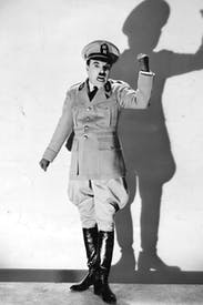 'Less political satire than back-handed homage:Charlie Chaplin in a scene from The Great Dictator