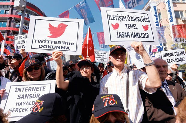 A demonstration in Istanbul against the ban on Twitter, 22 March 2014