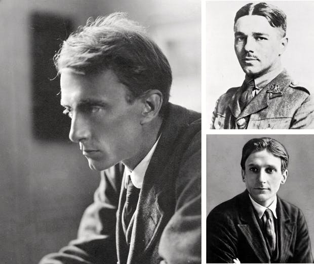 Three of the best: Edward Thomas (left), Wilfred Owen (above right) and Edmund Blunden