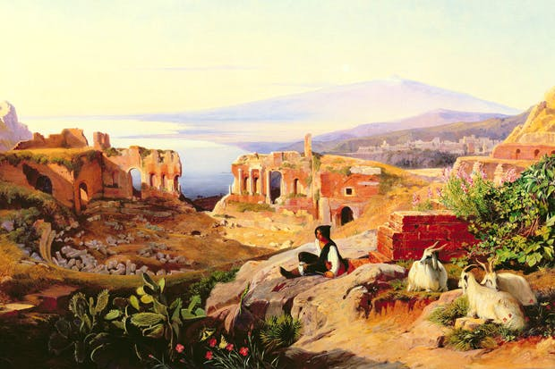 The most romantic winter resort in Europe: Taormina, with Mount Etna in the background, by Edward Lear
