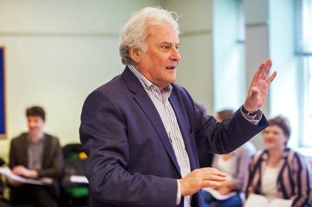 Richard Eyre rehearsing the London revival of 'The Pajama Game' at the Shaftesbury Theatre