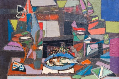 'Composition With Fish' by Jankel Adler, on show at Goldmark Gallery