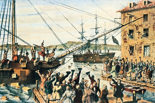 English tea-chests are thrown into Boston harbour, 16 December 1773