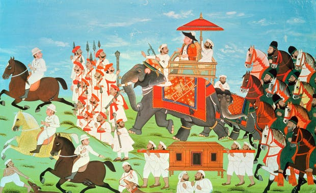 Colonel James Tod, travelling by elephant through Rajasthan with his cavalry and sepoys (Indian school, 18th century)
