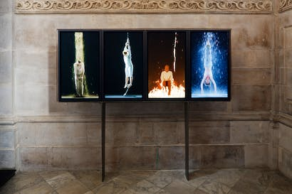 Different stages of suffering: 'Martyrs (Earth, Air, Fire, Water)' , 2014, by Bill Viola