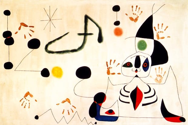 Inspired and springing draughtsmanship: 'Femme dans la nuit', 18 April 1945, by Jean Miró