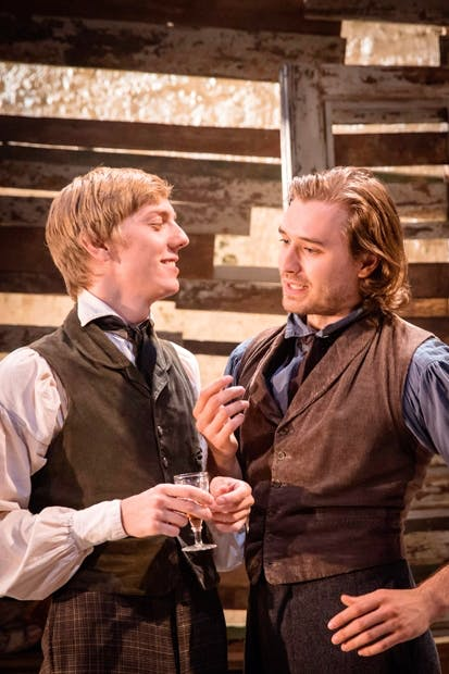 Idealists and chums: Joshua James (Arkady) and Seth Numrich (Bazarov)