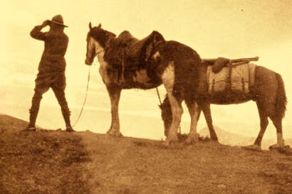 Aimé Tschiffely with Mancha and Gato. The strongest emotional bonds he formed on his epic journey were with his horses