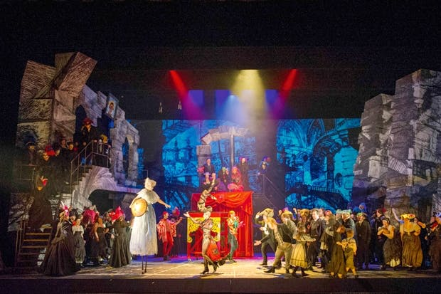 The busyness of it all is tiring: it feels like not just one West End musical, but several crammed together on to the same stage