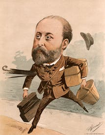 Edward VII, portrayed in the French press hurrying across the Channel to the delights of Paris