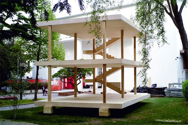 Le Corbusier's design for the Maison Dom-ino of 1914, built for the first time, in front of the Central Pavilion at the Biennale Gardens, by a team from the Architectural Association in London