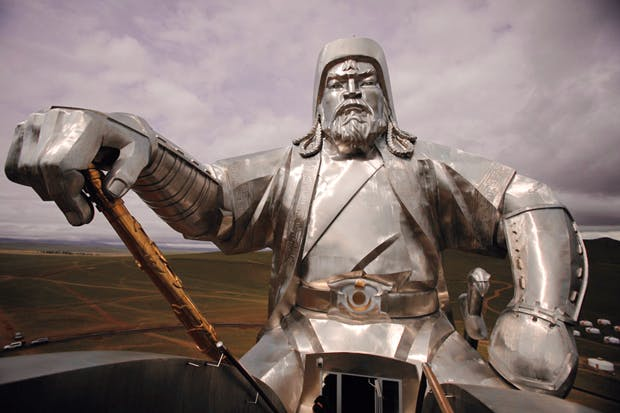 Close-up of Genghis towering 40 metres over his home pastures near the Mongol capital, Ulaanbaatar – the world's biggest equestrian statue