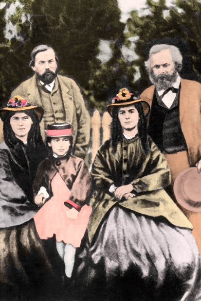 Friedrich Engels and Karl Marx with Jenny, Eleanor and Laura Marx, 1864