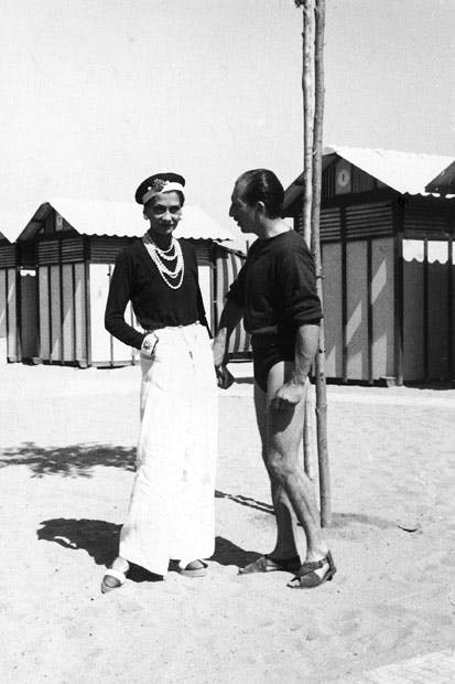 Coco Chanel, one of the 'rackety celebrities' of the 1920s, with Duke Laurino of Rome on the Lido