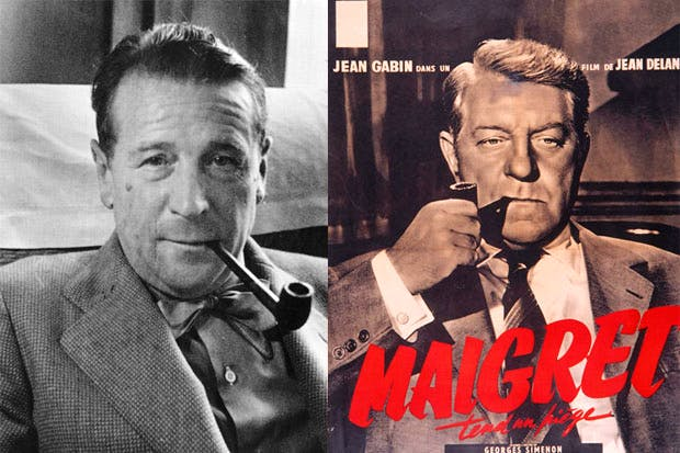 Georges Simenon aged 30 (left) and Jean Gabin (right) in the 1958 film Maigret Tend un Piège — to be shown as part of a season of Maigret films at the Barbican, London (4–26 October). For details visit www.barbican.org.uk.