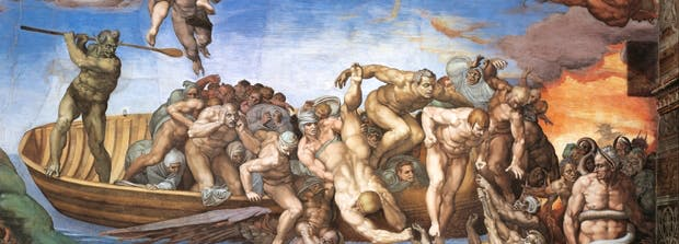 Detail of 'The Last Judgment', 1535–1541, from the 'Sistine Chapel (Cappella Sistina)' by Michelangelo