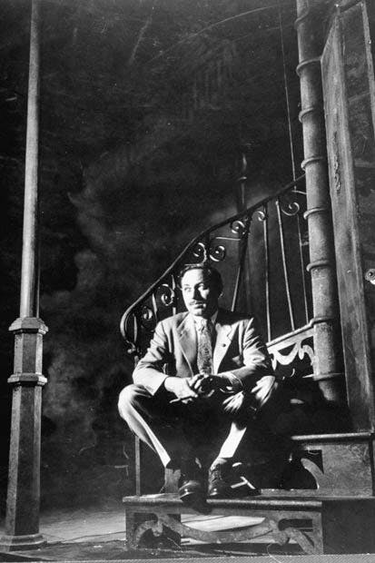 Tennessee Williams on the stage set of A Streetcar Named Desire (1947)