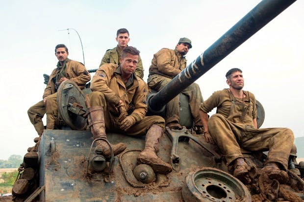 Brad Pitt with the crew of the Sherman tank, Fury