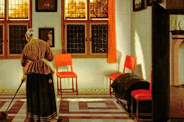 Sweeping away evidence: where in those calm, tile-floored 17th-century rooms can we even glimpse a spittoon? 'Dutch Interior' by Pieter Janssens Elinga