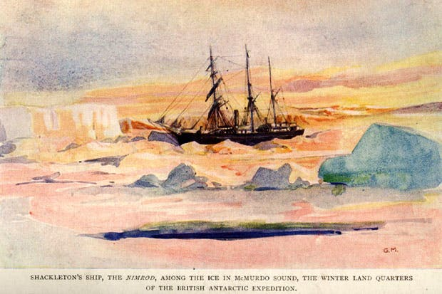 Shackleton's ship the Nimrod in the ice at McMurdo Sound