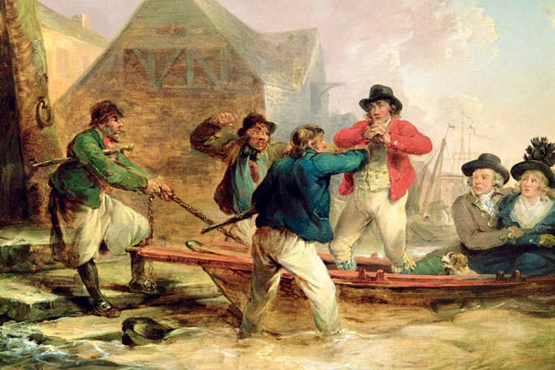 'There was great danger of being kidnapped by licensed thugs and turned into a not-so-jolly Jack Tar' George Morland's 'The Press Gang' (1790s)