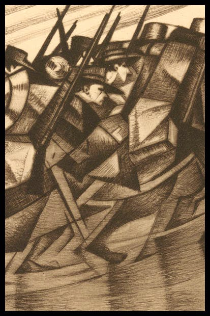 'Returning to the Trenches', 1916, by C.R.W. Nevinson