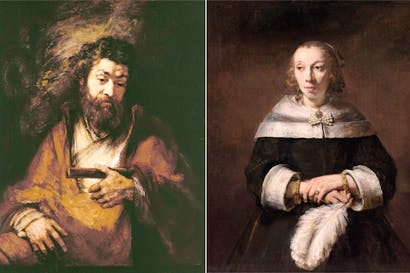 Left: The Apostle Simon, 1661. Right: Portrait of a Lady with an Ostrich-Feather Fan, 1658–60