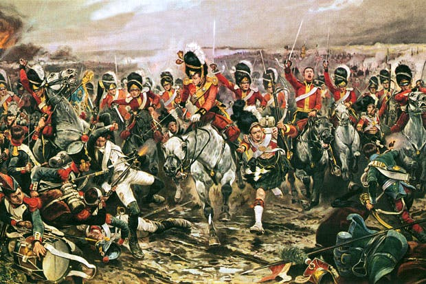 The charge of the Scots Greys at Waterloo by the British-American artist Richard Caton Woodville. From A History of War in 100 Battles by Richard Overy (William Collins, £25)