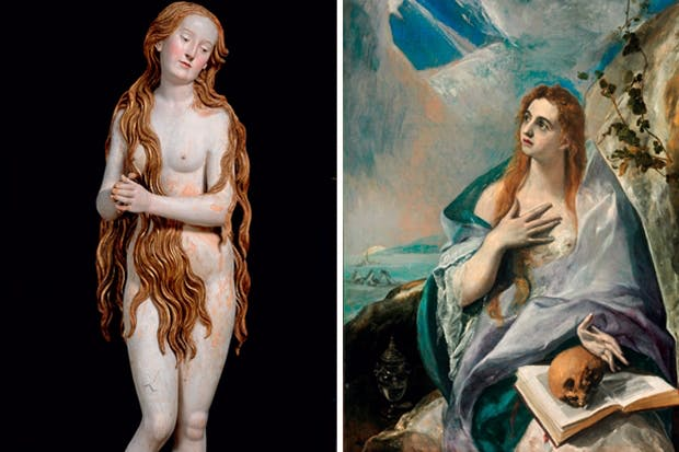 The erotic Mary, left, by Gregor Erhart (c.1515–20) and the penitent Mary, right, by El Greco (c.1577)